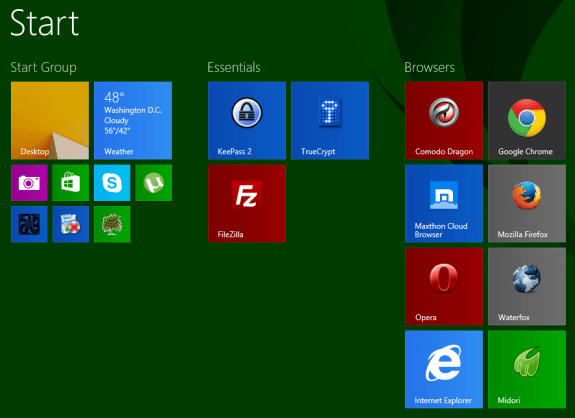 Windows 8.1 Enterprise menu