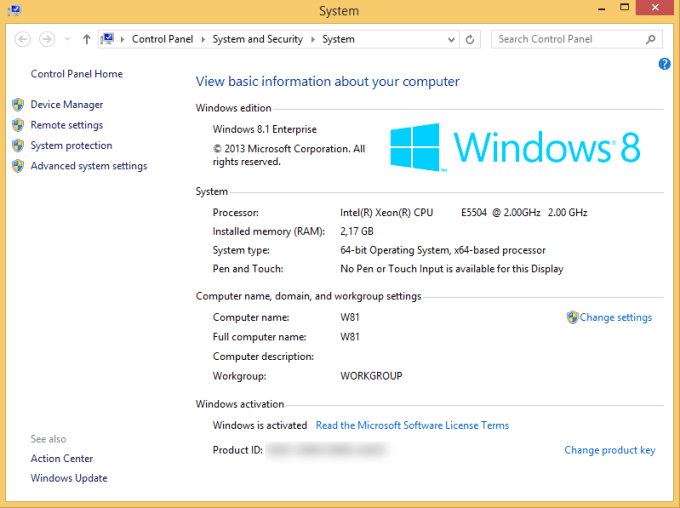 Windows 8.1 Enterprise system properties