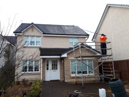 ww.softwashscotland.com Softwashing Marley Tile Roof with Algo Clear Pro Morgan Way Armadale