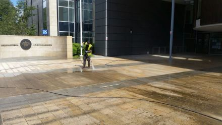 Civic Center Livingston West Lothian Chewing Gum Removal Softwash Application.