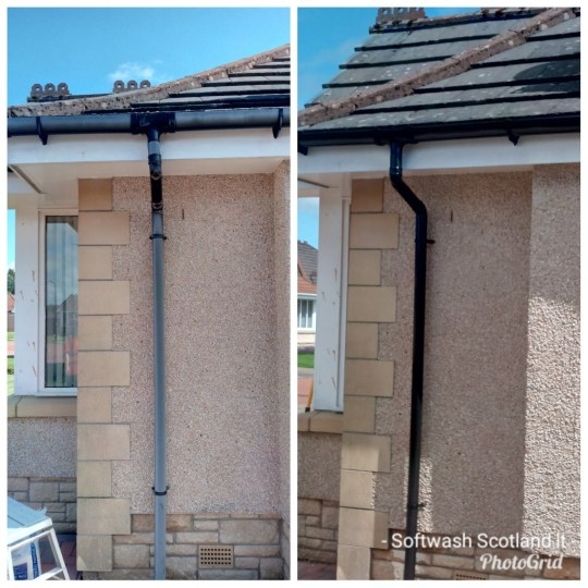 Faded PVC gutters and down pipe from sunlight exposure. Colour restoration using Owatrol PloyTrol . OwatrolUK