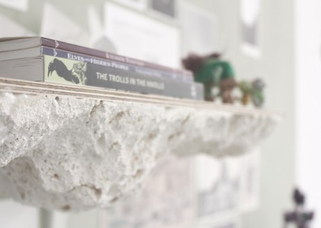 Close up of lava-cast texture and shelving featured in the Cryptogeology exhibit at Bath Spa Universities Degree Show.