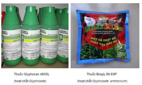 Hình ảnh thuốc diệt cỏ Glyphosan 480SL có sử dụng hoạt chất Glyphosate (Hình ảnh chụp từ website chi cục Bảo vệ thực vật tỉnh Lâm Đồng).