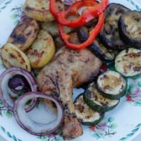 Grillet kylling med grillede grønnsaker