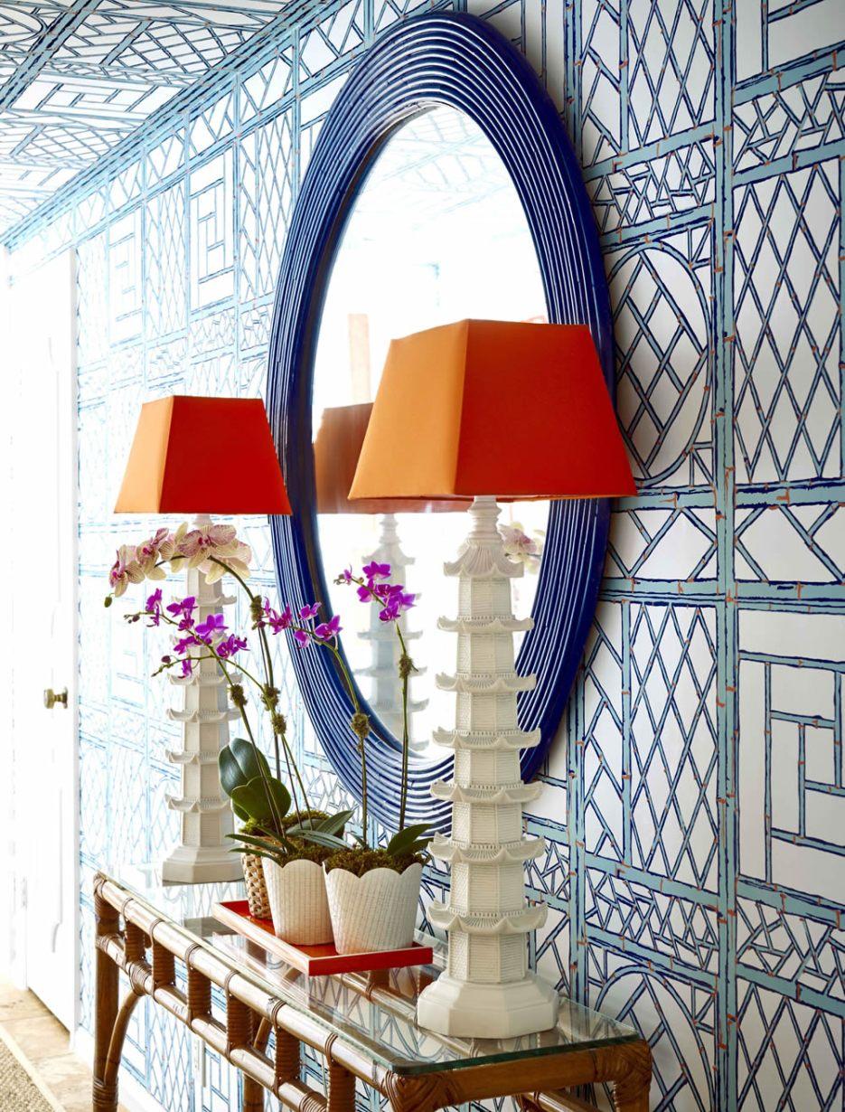 Lovely Quadrille blue and white trellis design