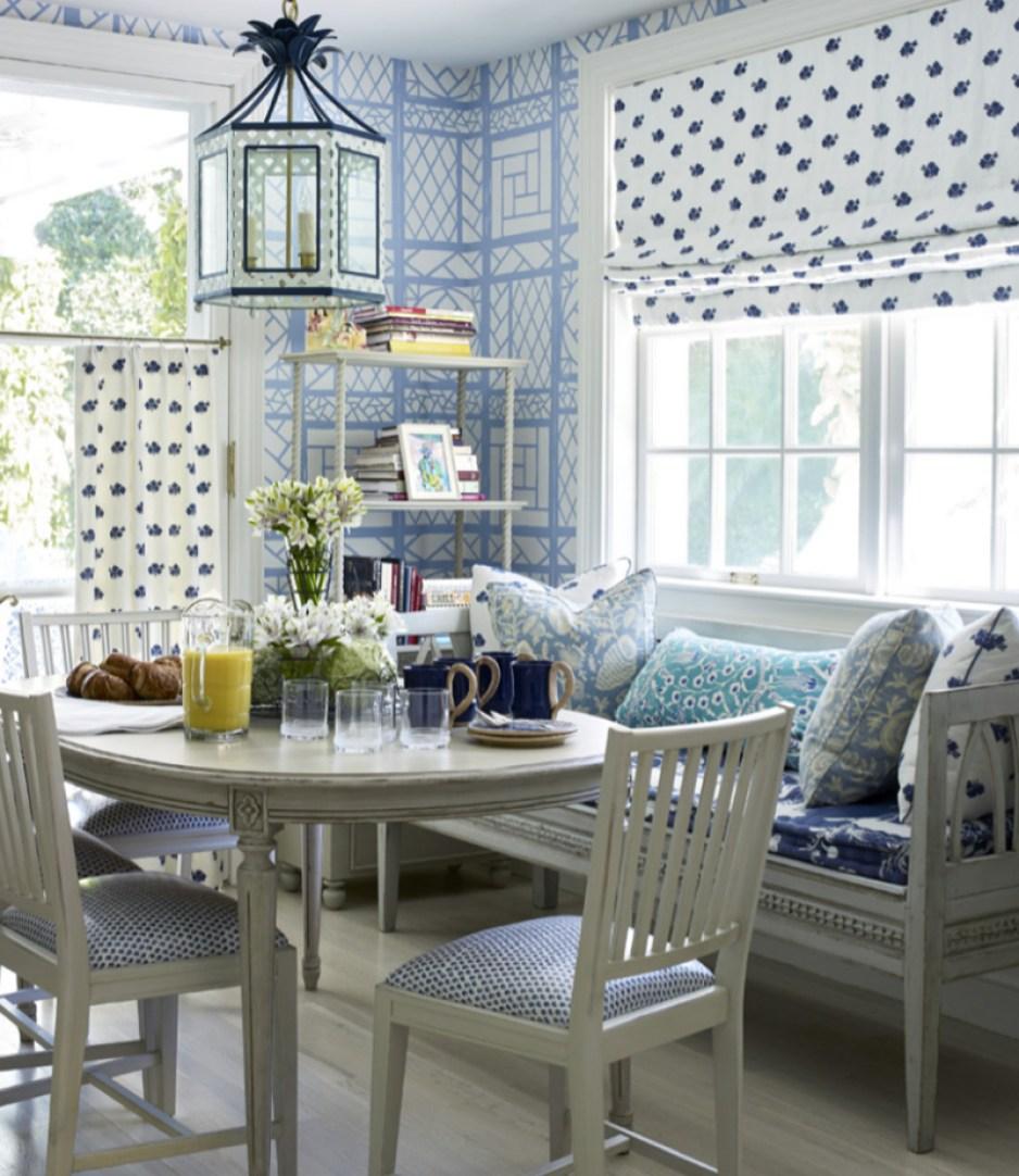 Blue and white trellis background Quadrille
