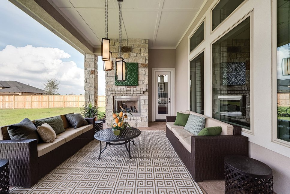 Covered porch and cozy fireplace for family time