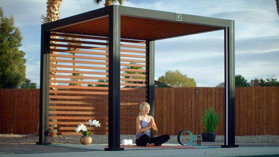 Cabana creating meditation or yoga space.