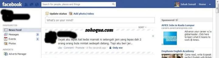 status yang berunsur riak di facebook