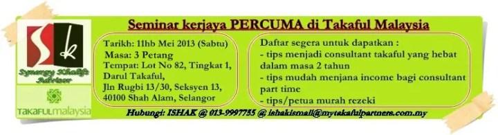 banner seminar kerjaya percuma takaful malaysia 11 mei 2013