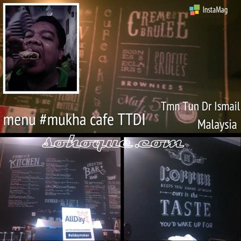 antara menu yang tertera di dinding Mukha Cafe