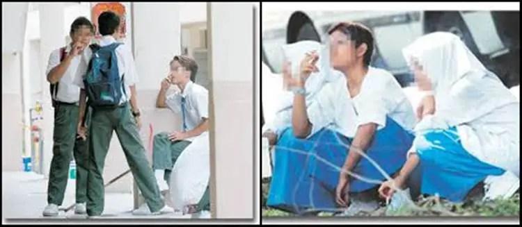 budak sekolah perempuan hisap rokok