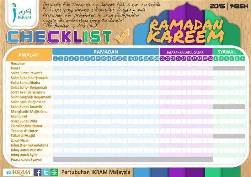 senarai checklist amalan bulan ramadhan