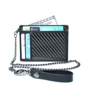 Minimalist Carbon Fiber RFID Blocking Anti-Theft Card Case Wallet w/ Removable Chain