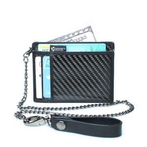 Minimalist Carbon Fiber RFID Blocking Anti-Theft Card Case Wallet w/ Removable Chain