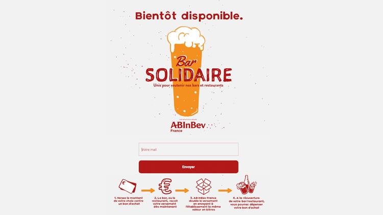 Bar Solidaire, la Plateforme de AB INBEV française pour aider les bars et restaurateurs français!