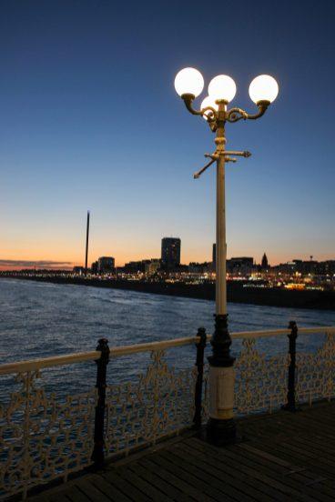 Palace Pier Brighton la nuit