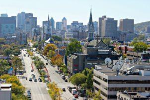 Vue sur Montréal depuis le pont Jacques Cartier