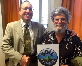 Seth Itzkan and Tom Goreau with Soil4Climate sign in Paris