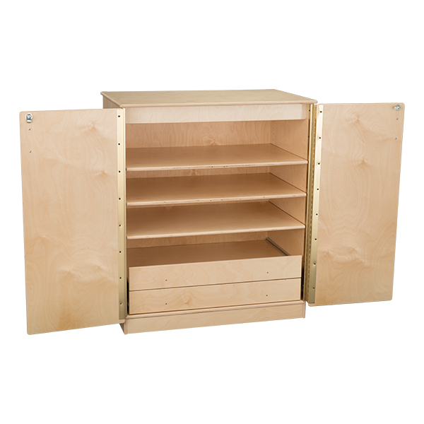 wooden storage cabinet w shelves enclosed drawers assembled