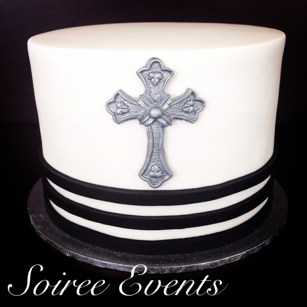 Black and White Confirmation Cake
