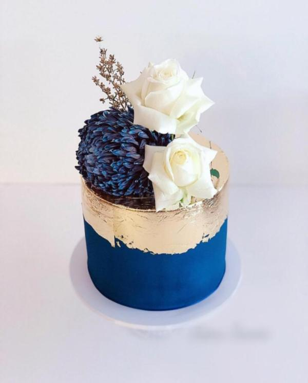 navy and Gold Leaf Fresh Florals