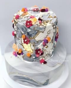 coloured textured marble stone cake