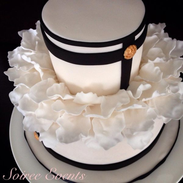 black and white petal cake