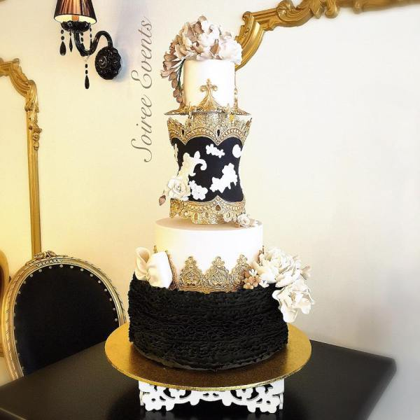 black ruffles with lace corset marie antoinette cake
