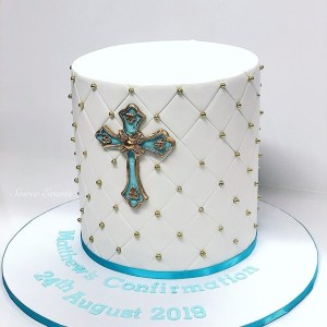 blue quilted communion cake