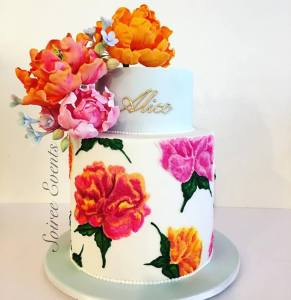 hand piped and brushed lace peony cake