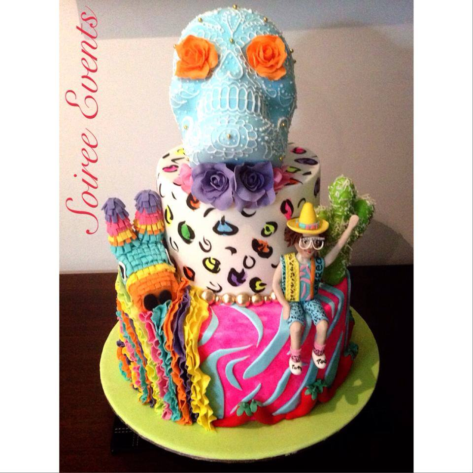 Cool Mexican Sugar Skull Cake For Redfoos Birthday Soiree Funny Birthday Cards Online Barepcheapnameinfo