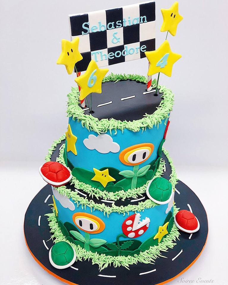 Peachy Mario Kart Cake Soiree Personalised Birthday Cards Sponlily Jamesorg
