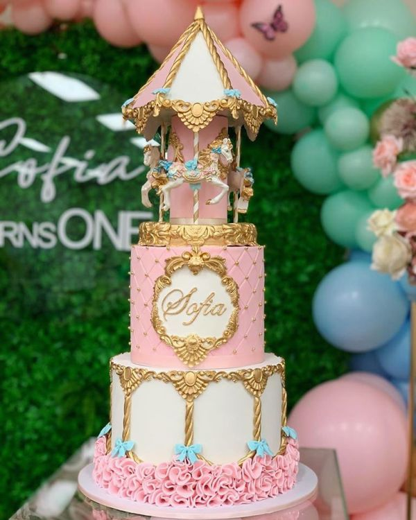 two tier carousel cake