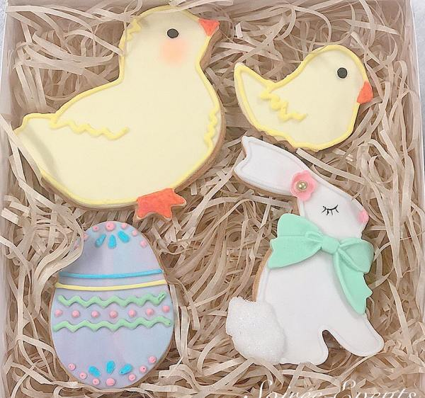 easter cookies with bunny and chick