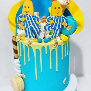 bananas in pajamas drip cake