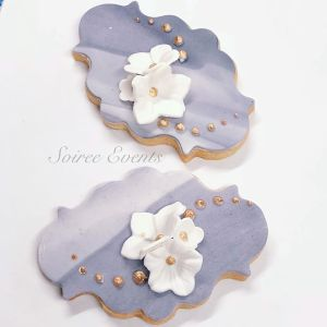 grey marble and flower sugar cookies