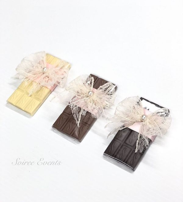 lace bow wrapped chocolates