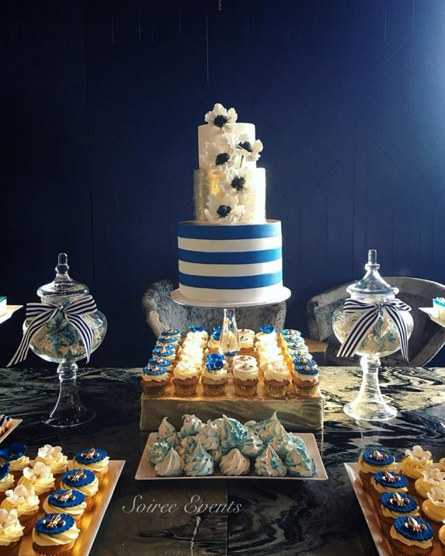 french riviera dessert table cake