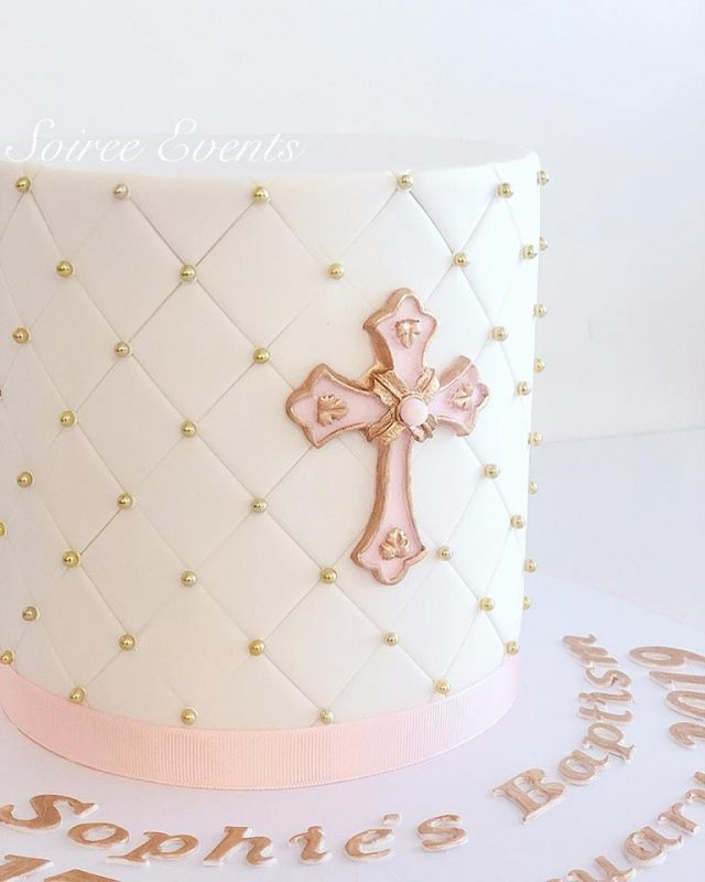 white and pink quilted christening cake