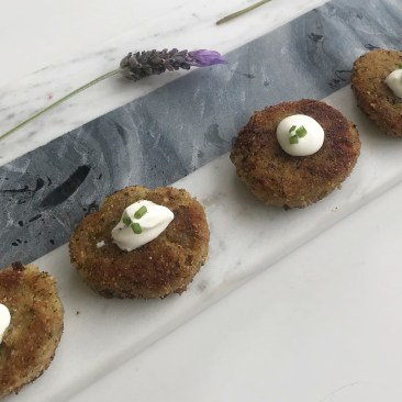Veggie Fritters with Sour Cream & Chives