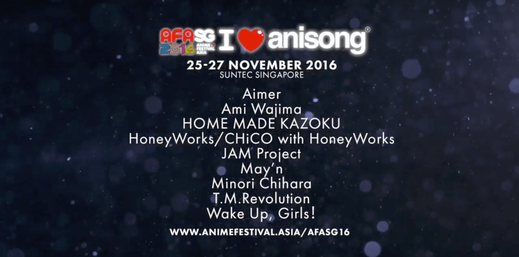 AFASG16 I LOVE ANISONG ARTIST LINE UP ANNOUNCED
