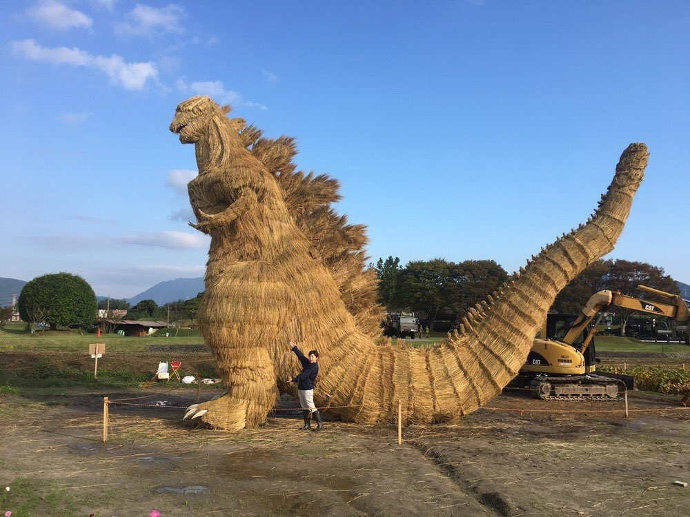 Gigantic straw Godzilla spotted in a Japanese field