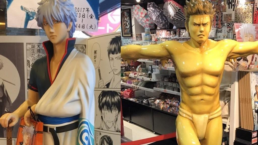 Jump Shop displaying life-size Isao Kondo and Gintoki statues