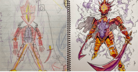 Anime animator redraws his sons' doodles into awesome artworks