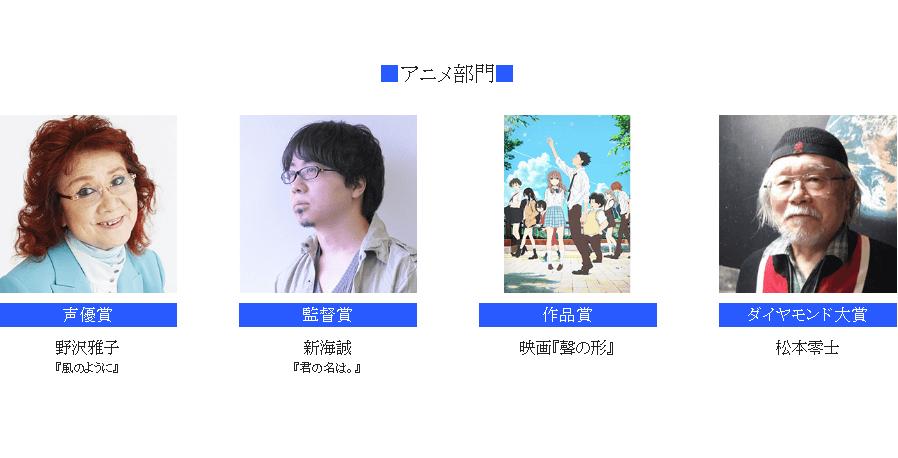 A Silent Voice, Masako Nozawa, Makoto Shinkai Win Big During the Japan Movie Critics Awards