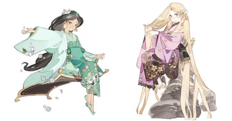 Disney princess fanart gives them a Japanese makeover, complete with kimonos