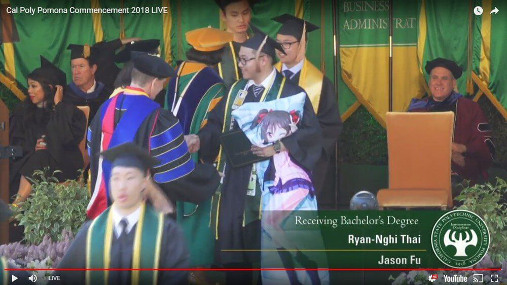 So, a guy just brought a dakimakura of his waifu to his graduation in the US