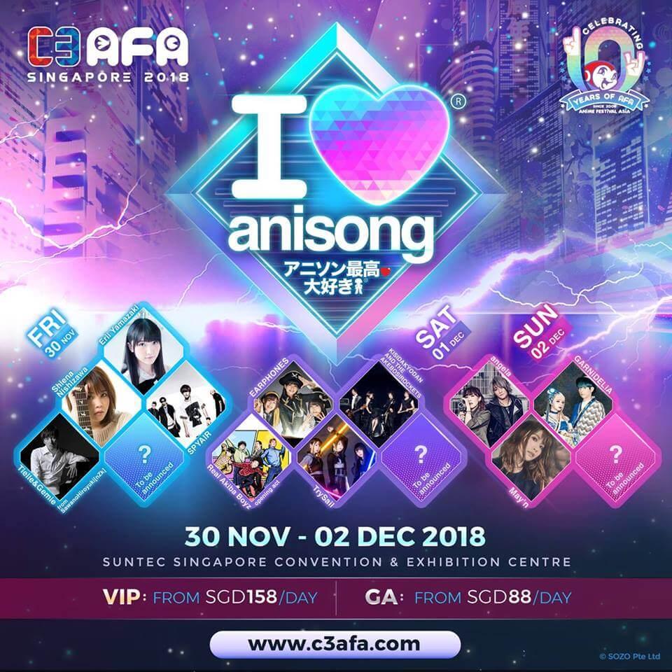 "C3 AFA Singapore 2018 Announces ""I Love Anisong"" Additional Artistes!"