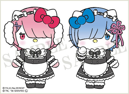 Hello Kitty cosplays Emilia, Ram, Mimmy cosplays as Rem for special Re:Zero collaboration